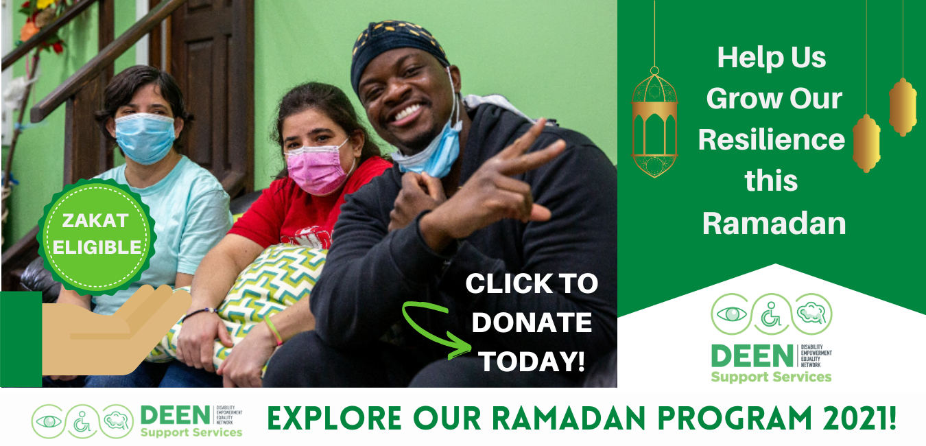 Two female participants with masks sitting on couch to the right of Jae Deen on modified banner image which reads Help Us grow our reslience this ramadan on right side with ramadan lanterns hanging on either side. Bottom strip has deen logo and read explore our ramadan program 2021! On image, hand holding zakat eligible badge, and text reads click to donate today with an arrow showing where to click.