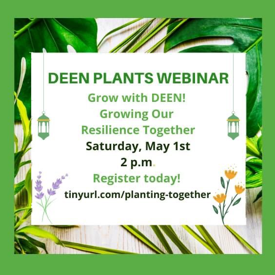DEEN Plants Webinar. Grow with DEEN! Growing our Resilience Together. Saturday May 1st at 2pm. Register today! tinyurl.com/planting-together